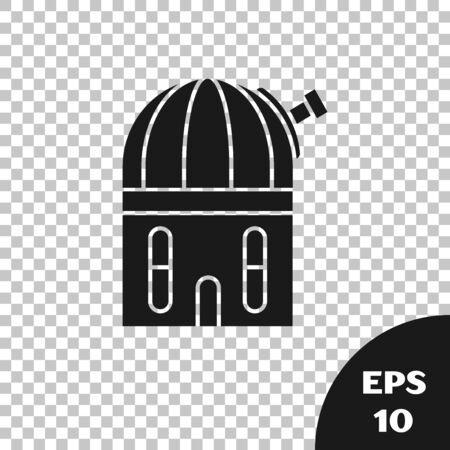 Black Astronomical observatory icon isolated on transparent background. Vector Illustration
