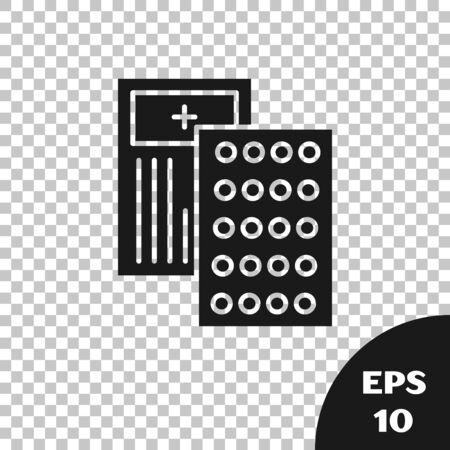 Black Pills in blister pack icon isolated on transparent background. Medical drug package for tablet, vitamin, antibiotic, aspirin. Vector Illustration