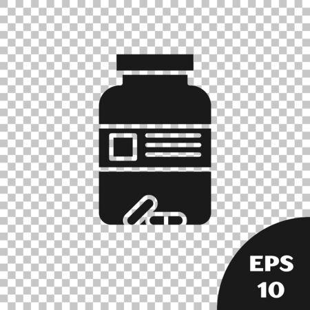 Black Medicine bottle and pills icon isolated on transparent background. Bottle pill sign. Pharmacy design. Vector Illustration