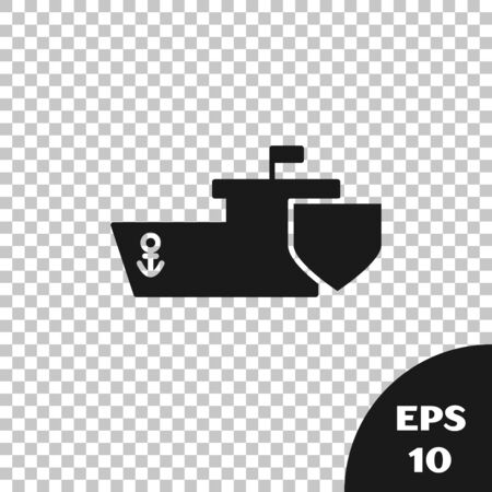Black Ship with shield icon isolated on transparent background. Insurance concept. Security, safety, protection, protect concept. Vector Illustration