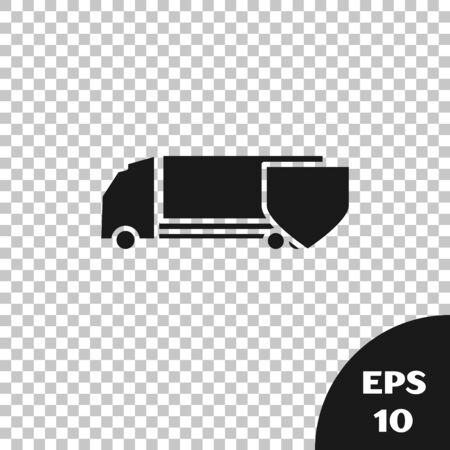 Black Delivery cargo truck with shield icon isolated on transparent background. Insurance concept. Security, safety, protection, protect concept. Vector Illustration