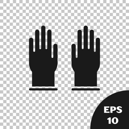 Black Rubber gloves icon isolated on transparent background. Latex hand protection sign. Housework cleaning equipment symbol. Vector Illustration