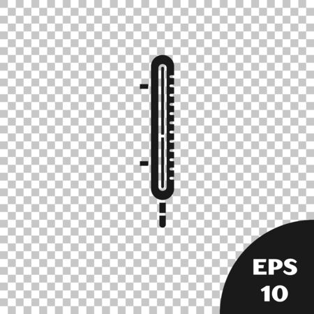 Black Meteorology thermometer measuring icon isolated on transparent background. Thermometer equipment showing hot or cold weather. Vector Illustration Çizim