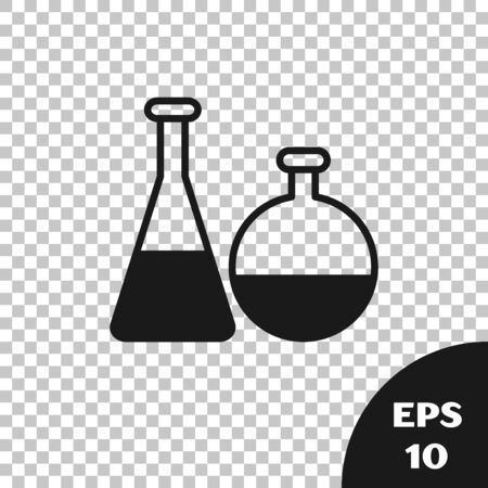 Black Test tube and flask chemical laboratory test icon isolated on transparent background. Laboratory glassware sign. Vector Illustration Иллюстрация