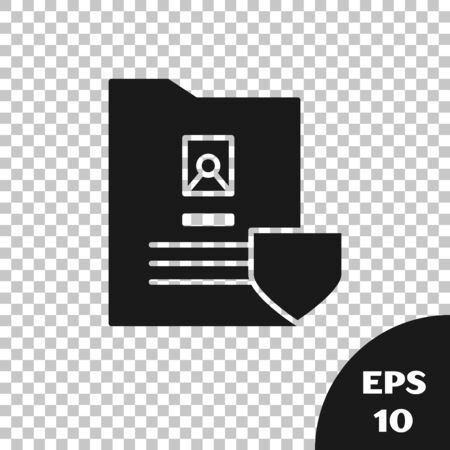 Black Document with shield icon isolated on transparent background. Insurance concept. Security, safety, protection, protect concept. Vector Illustration Ilustração