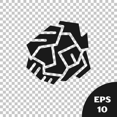 Black Crumpled paper ball icon isolated on transparent background. Vector Illustration