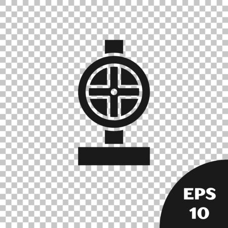 Black Industry metallic pipes and valve icon isolated on transparent background. Vector Illustration Ilustracja