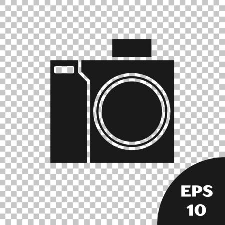 Black Photo camera for diver icon isolated on transparent background. Foto camera icon. Diving underwater equipment. Vector Illustration Stock Illustratie