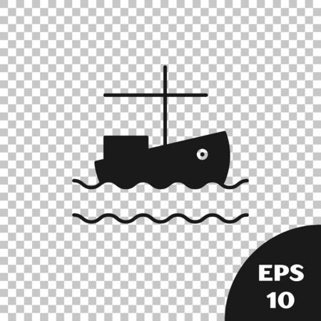 Black Fishing boat on water icon isolated on transparent background. Vector Illustration 向量圖像