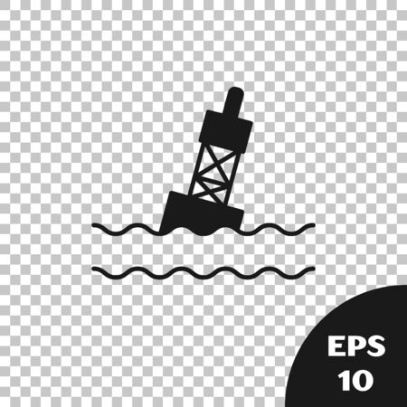 Black Floating buoy on the sea icon isolated on transparent background. Vector Illustration