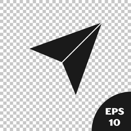Black Paper airplane icon isolated on transparent background. Vector Illustration