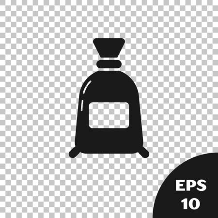 Black Bag of flour icon isolated on transparent background. Vector Illustration