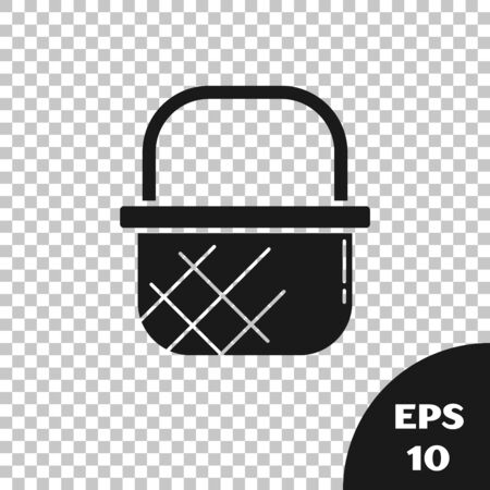 Black Shopping basket icon isolated on transparent background. Online buying concept. Delivery service sign. Shopping cart symbol. Vector Illustration