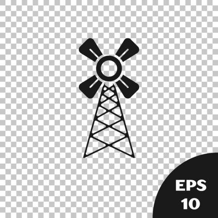Black Windmill icon isolated on transparent background. Vector Illustration Ilustracja