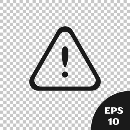Black Exclamation mark in triangle icon isolated on transparent background. Hazard warning sign, careful, attention, danger warning important sign. Vector Illustration