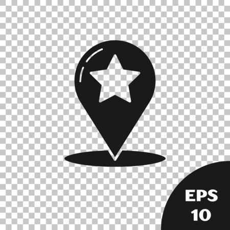 Black Map pointer with star icon isolated on transparent background. Star favorite pin map icon. Map markers. Vector Illustration Çizim