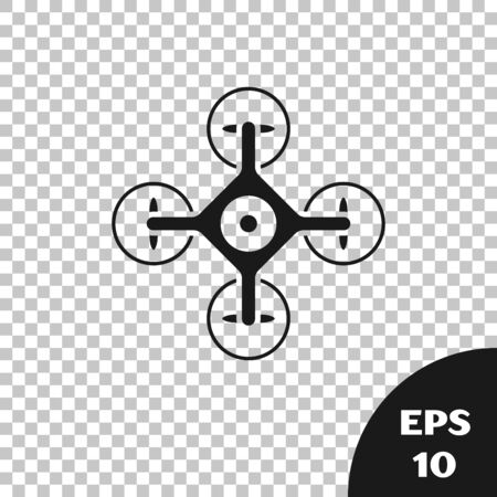 Black Drone flying with action video camera icon isolated on transparent background. Quadrocopter with video and photo camera symbol. Vector Illustration Иллюстрация