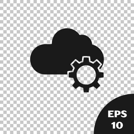 Black Cloud technology data transfer and storage icon isolated on transparent background. Adjusting, service, setting, maintenance, repair, fixing. Vector Illustration