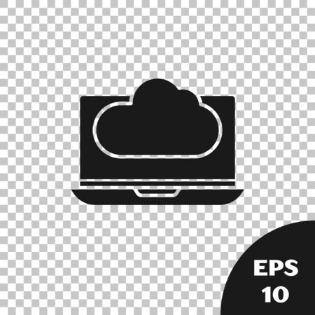 Black Cloud technology data transfer and storage icon isolated on transparent background. Vector Illustration Çizim