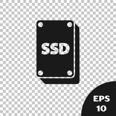 Black SSD card icon isolated on transparent background. Solid state drive sign. Storage disk symbol. Vector Illustration