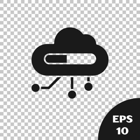 Black Internet of things icon isolated on transparent background. Cloud computing design concept. Digital network connection. Vector Illustration Çizim