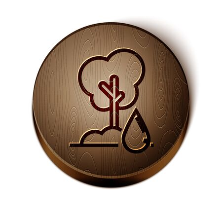 Brown line Watering Tree icon isolated on white background. Forest symbol. Irrigation symbol. Wooden circle button. Vector Illustration