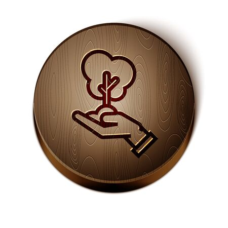Brown line Tree in hand of environmental protection icon isolated on white background. Seed and seedling. Planting sapling. Ecology concept. Wooden circle button. Vector Illustration Çizim