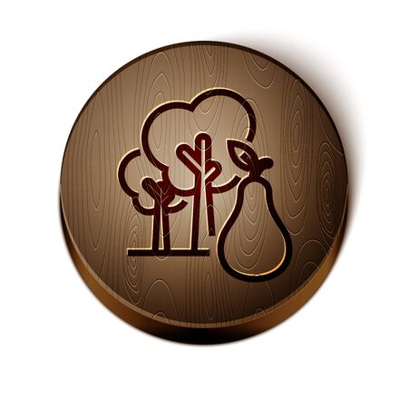 Brown line Tree with pears icon isolated on white background. Agricultural plant. Organic farm product. Gardening theme. Wooden circle button. Vector Illustration