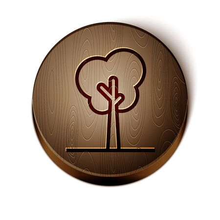 Brown line Tree icon isolated on white background. Forest symbol. Wooden circle button. Vector Illustration