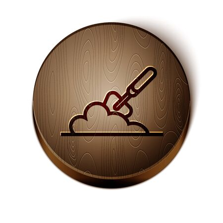 Brown line Garden trowel spade or shovel in the ground icon isolated on white background. Gardening tool. Tool for horticulture, agriculture, farming. Wooden circle button. Vector Illustration