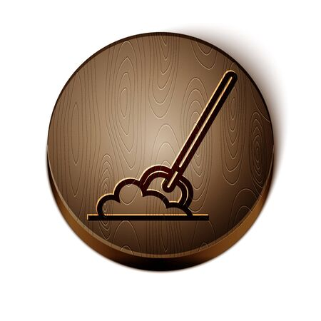 Brown line Shovel in the ground icon isolated on white background. Gardening tool. Tool for horticulture, agriculture, farming. Wooden circle button. Vector Illustration