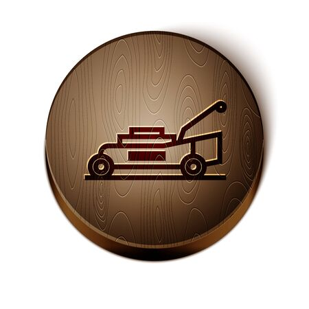 Brown line Lawn mower icon isolated on white background. Lawn mower cutting grass. Wooden circle button. Vector Illustration Ilustração
