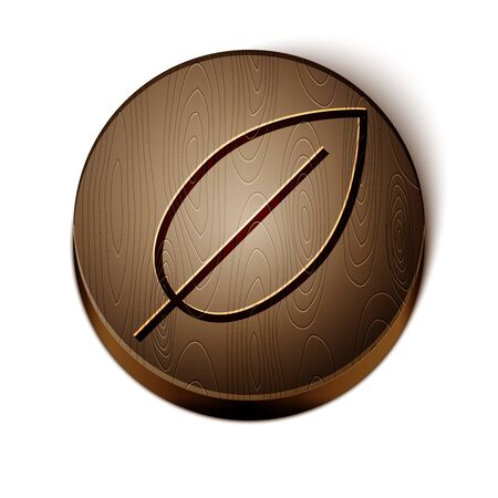 Brown line Leaf icon isolated on white background. Fresh natural product symbol. Wooden circle button. Vector Illustration