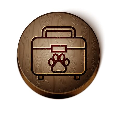 Brown line Pet first aid kit icon isolated on white background. Dog or cat paw print. Clinic box. Wooden circle button. Vector Illustration