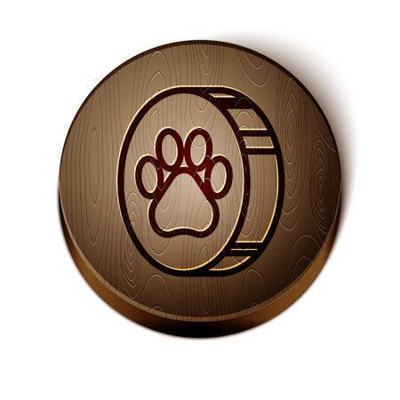 Brown line Paw print icon isolated on white background. Dog or cat paw print. Animal track. Wooden circle button. Vector Illustration