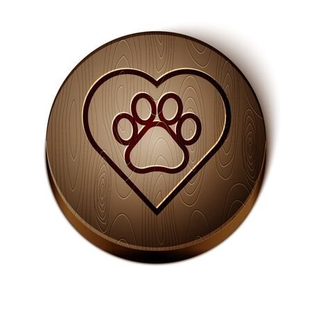 Brown line Heart with animals footprint icon isolated on white background. Pet paw in heart. Love to the animals. Wooden circle button. Vector Illustration