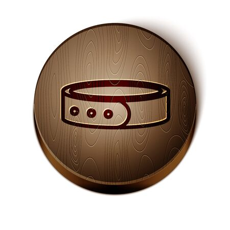 Brown line Collar with name tag icon isolated on white background. Simple supplies for domestic animal. Cat and dog care. Pet chains. Wooden circle button. Vector Illustration