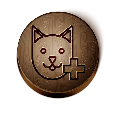 Brown line Veterinary clinic symbol icon isolated on white background. Cross with cat veterinary care. Pet First Aid sign. Wooden circle button. Vector Illustration