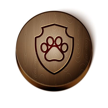 Brown line Animal health insurance icon isolated on white background. Pet protection icon. Dog or cat paw print. Wooden circle button. Vector Illustration