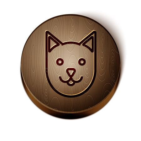 Brown line Cat icon isolated on white background. Wooden circle button. Vector Illustration
