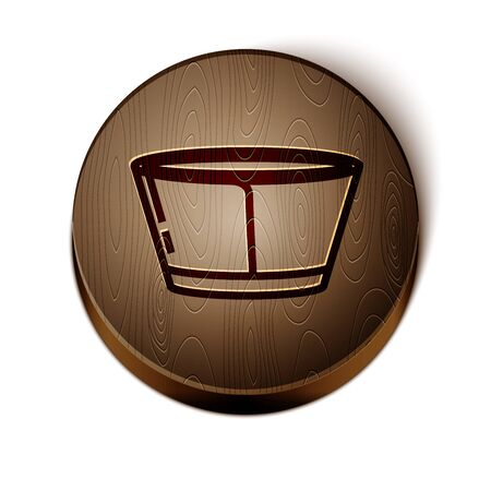 Brown line Protective cone collar icon isolated on white background. Recovery pet cone. Cone for animal. Wooden circle button. Vector Illustration