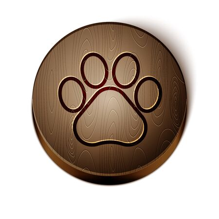 Brown line Paw print icon isolated on white background. Dog or cat paw print. Animal track. Wooden circle button. Vector Illustration Banco de Imagens - 131343987
