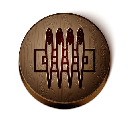 Brown line Needle for sewing icon isolated on white background. Tailor symbol. Textile sew up craft sign. Embroidery tool. Wooden circle button. Vector Illustration