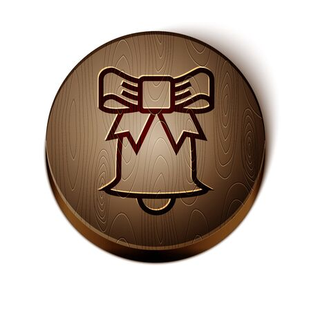 Brown line Ringing bell icon isolated on white background. Alarm symbol, service bell, handbell sign, notification symbol. Wooden circle button. Vector Illustration