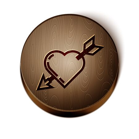 Brown line Amour symbol with heart and arrow icon isolated on white background. Love sign. Valentines symbol. Wooden circle button. Vector Illustration