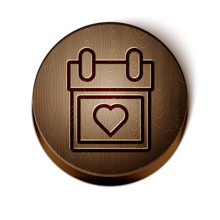 Brown line Calendar with heart icon isolated on white background. Valentines day. Love symbol. February 14. Wooden circle button. Vector Illustration Çizim