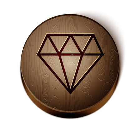Brown line Diamond icon isolated on white background. Jewelry symbol. Gem stone. Wooden circle button. Vector Illustration