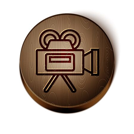Brown line Cinema camera icon isolated on white background. Video camera. Movie sign. Film projector. Wooden circle button. Vector Illustration Illustration