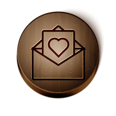 Brown line Envelope with Valentine heart icon isolated on white background. Message love. Letter love and romance. Wooden circle button. Vector Illustration