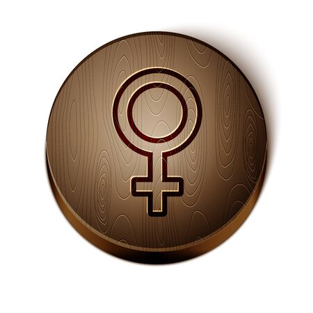 Brown line Female gender symbol icon isolated on white background. Venus symbol. The symbol for a female organism or woman. Wooden circle button. Vector Illustration